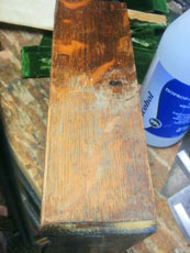 A portion of old shellac completely scraped away.